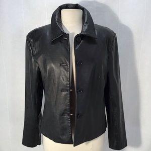Margaret Godfrey Black Leather Button Up Jacket